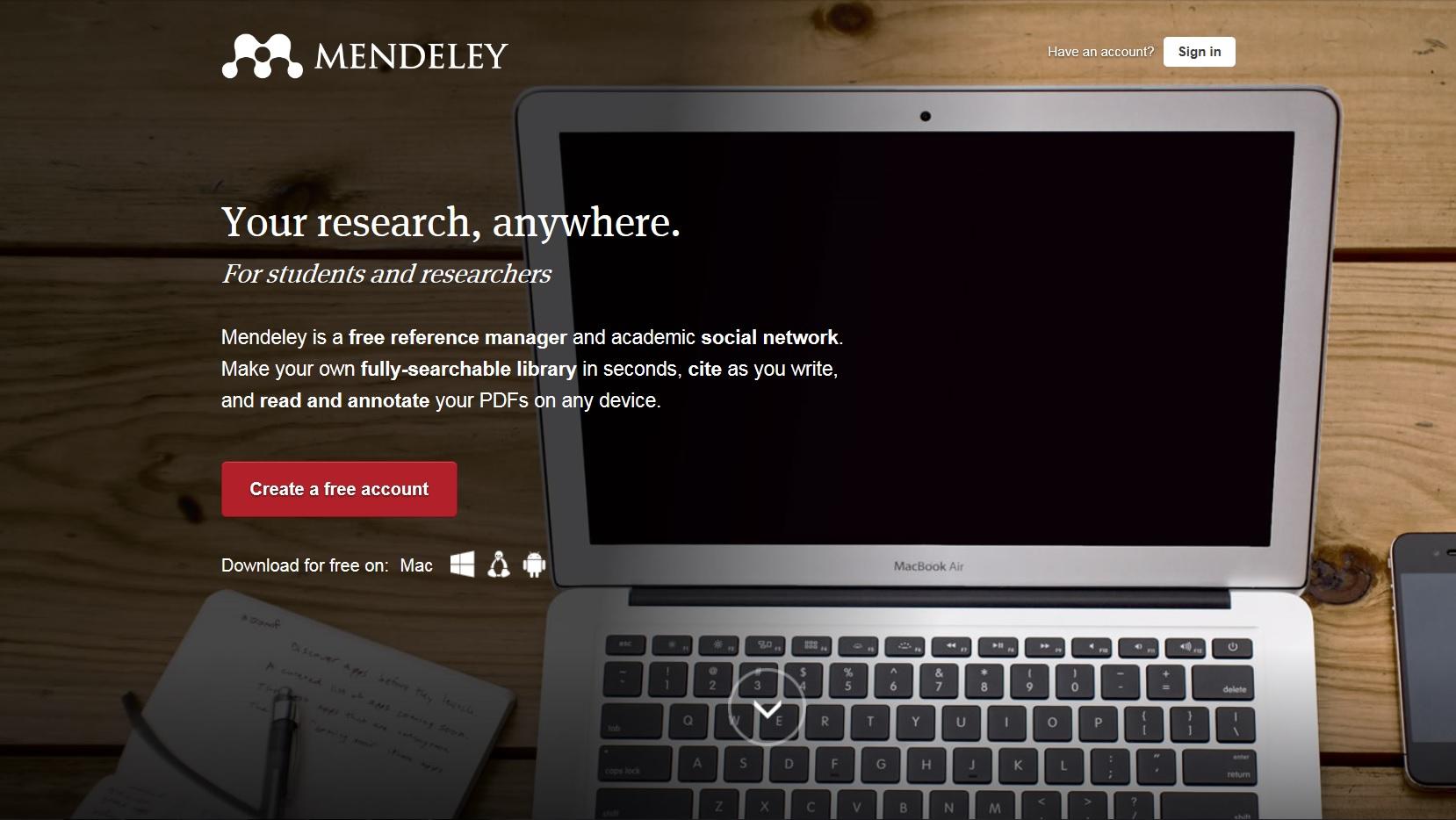 Mendeley homepage