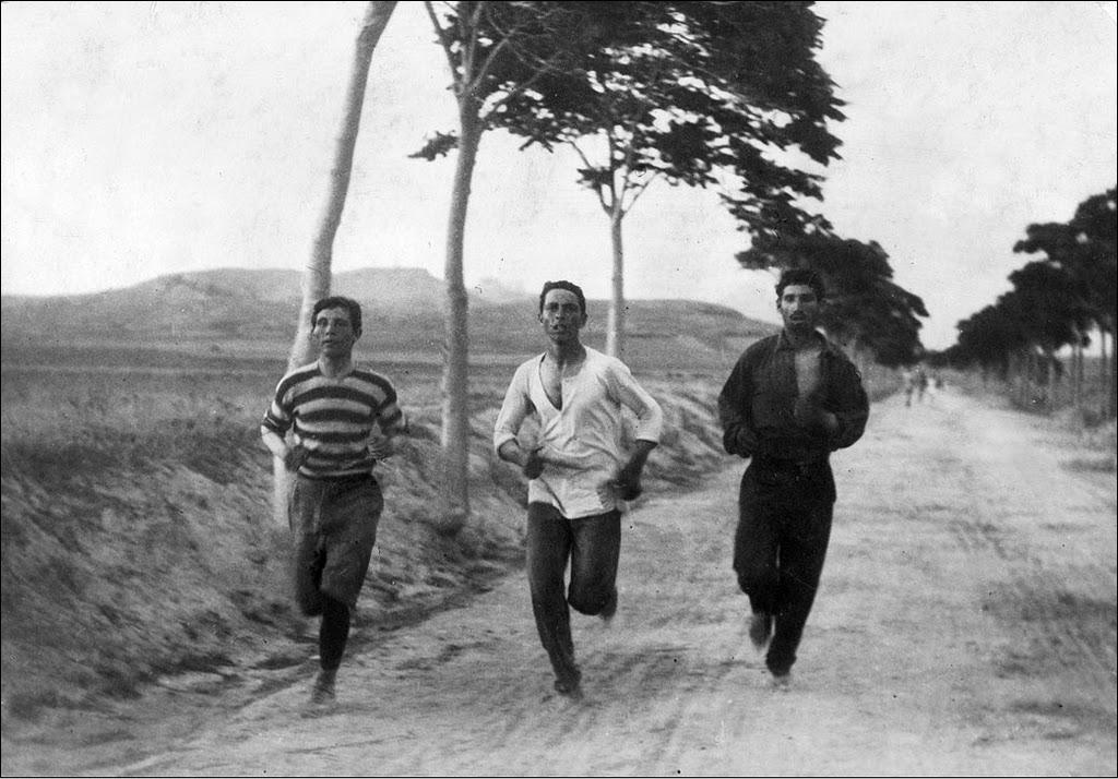 Runners in the 1896 Summer Olympics marathon.