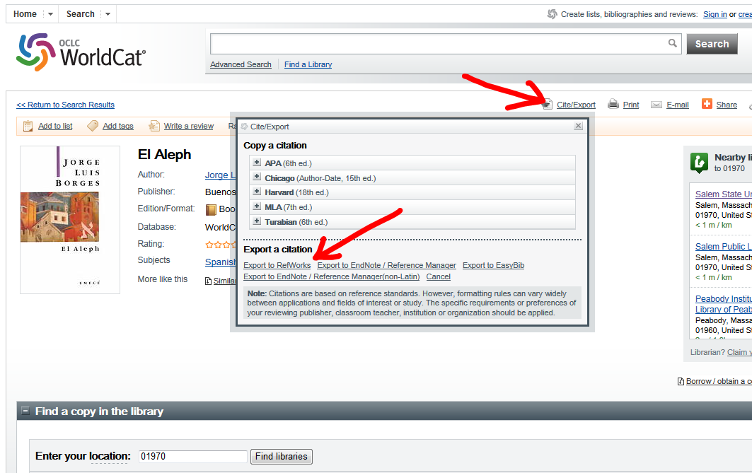 Image of Cite/Export, Export to RefWorks within WorldCat
