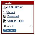 "database tools menu that includes a link called ""citation tools"""