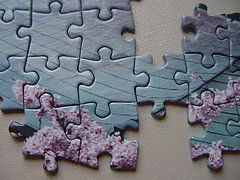 Photograph of a partially completed jigsaw puzzle