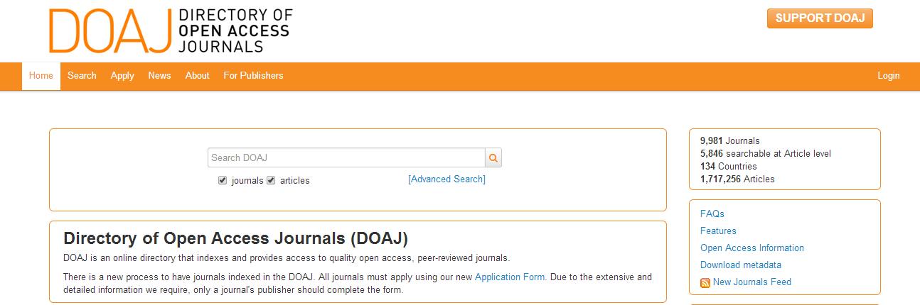 Screenshot of Directory of Open Access Journals homepage
