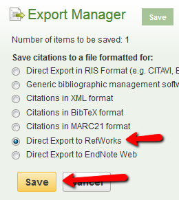 In the Export Manager, choose Direct Export to RefWorks