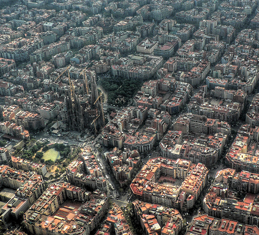 Barcelona, aerial photograph showing Ildefonso Cerda's chamfered grid, from the 1859 city plan. [Flickr, Aldask, via Creative Commons]