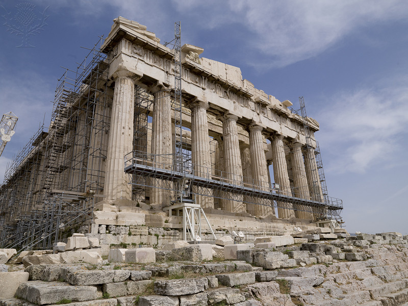 Photo of the Parthenon with scaffolding