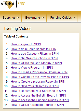 Click image to access SPIN training videos