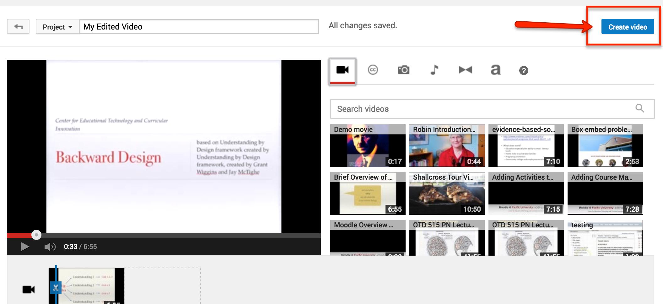 create video button