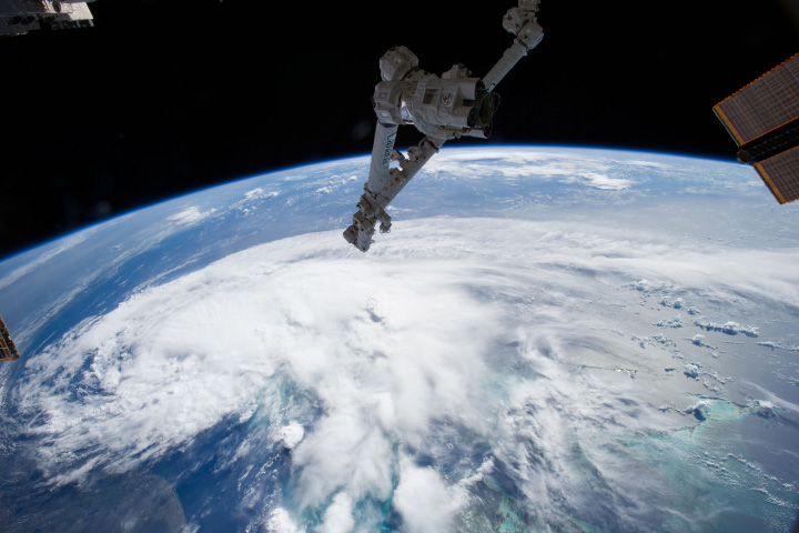 NASA satellite in orbit viewing Tropical Storm Arthur