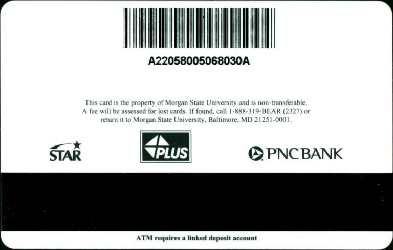 Example barcode on the back of a Morgan State Bear Card
