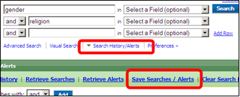 EBSCO Search History/Alerts