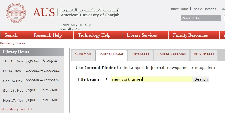 Screen capture of an example search in  Journal Finder