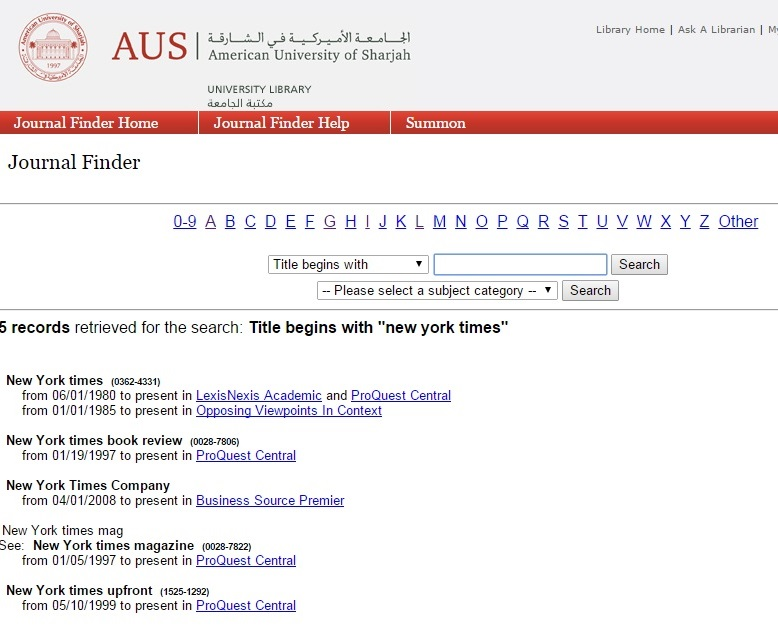 Screen capture of a search result list in Journal Finder