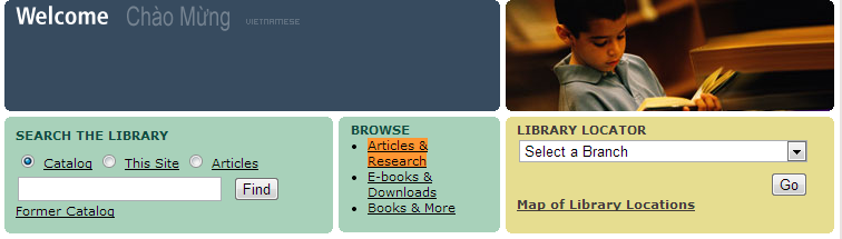 Screenshot of the top portion of the Seattle Public Library's main page with the link to Articles and Research highlighted.