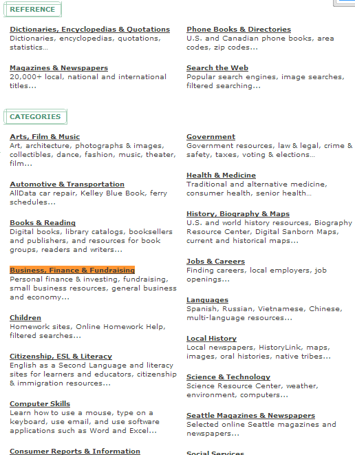 """Screenshot of Seattle Public Library website's list of reference resources and research topic categories with """"business, finance & fundraising"""" highlighted."""