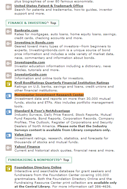 Screenshot of part of Seattle Public Library's list of Finance and Investing databases, with Morningstar Investment Research Center highlighted.