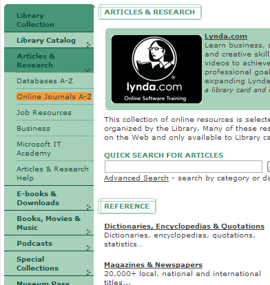 """Screenshot of the Seattle Public Library's homepage navigation bar with """"Online Journals A-Z"""" highlighted."""