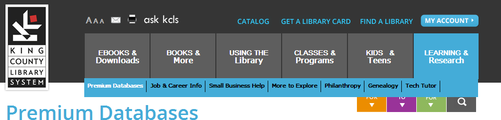 Screenshot of the King County Library System homepage with the Learning and Research menu open.