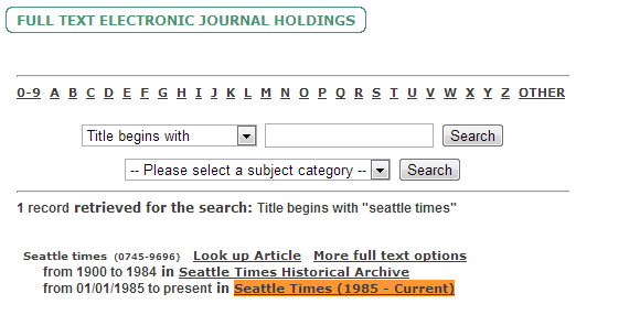 """Screenshot of Seattle Public Library's Full Text Electronic Journal Holdings search bar and results list for text """"Seattle Times."""" Results list includes title and dates covered, for example, """"from 01/01/1985 to present."""""""