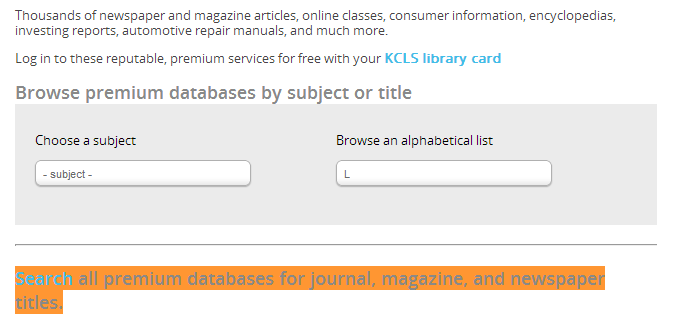 Screenshot of King County Library System database subject browse screen with link to Search all premium databases highlighted.