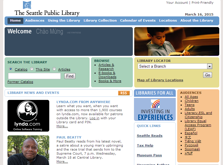 Seattle Public Library homepage