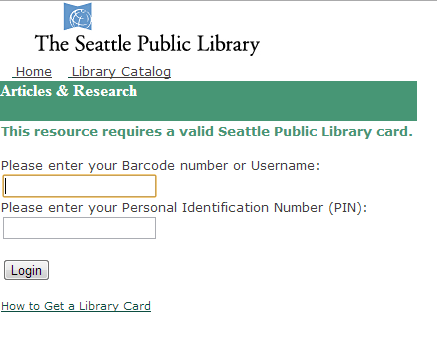 Screenshot of Seattle Public Library login page with no example text.