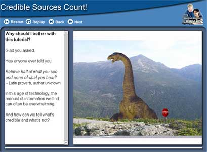 Screenshot from the Credible Sources Count tutorial with an image of a long-necked dinosaur