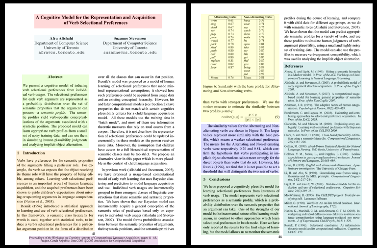 a screenshot of a scholarly article showing the different parts including: title, authors, abstract, charts/graphs/equations, article text, conclusion and references