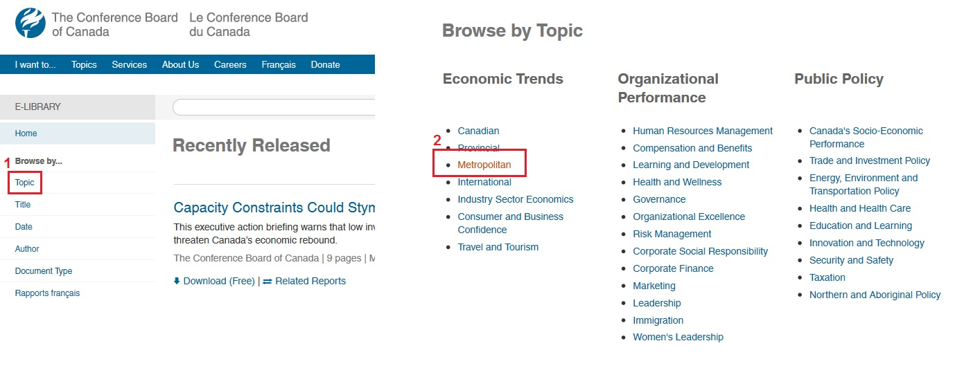 screenshot step 1 browse by topic step 2 select metropolitan under economics trends column