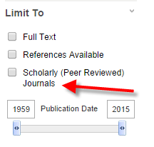 Example of limiter from Academic Search Premier