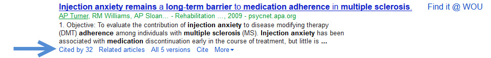 Google Scholar Citation with an arrow pointing to the Cited by link