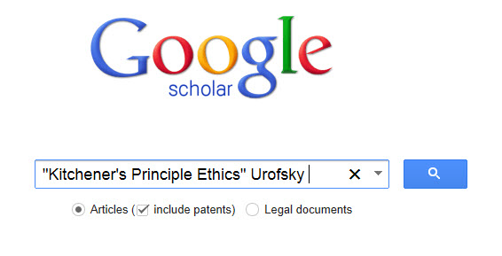"Google Scholar Search for ""Kitchener's Principles Ethics"" Urofsky"