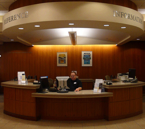 1st Floor reference desk at Hamersly Library