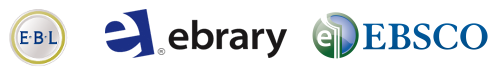 EBL, Ebrary and EBSCOhost e-books logos