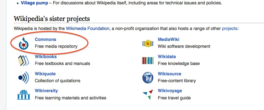 Screenshot of Wikipedia sister projects, highlighting Wikimedia Commons