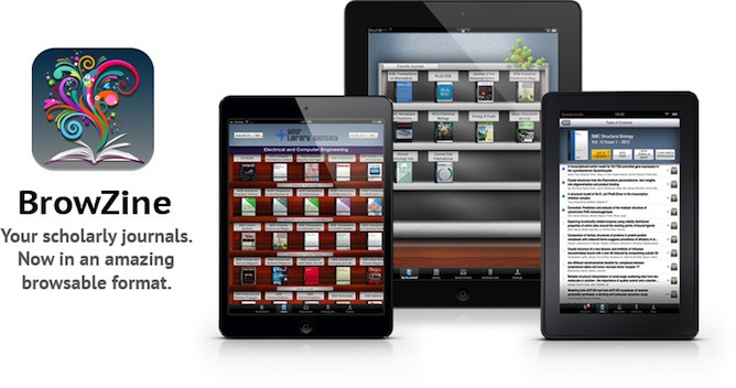 Browzine logo with multiple tablets and phones showing images of different Browzine screens