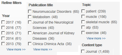 Screenshot of Science Direct search result limiters