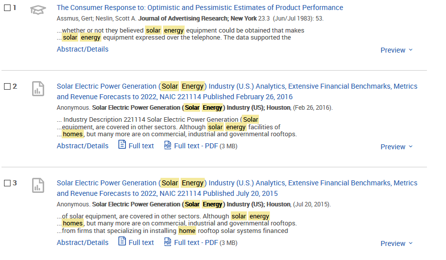 Screenshot of ProQuest Psychology Journals results sample