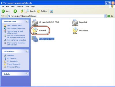 Screenshot of the server folder with the PCClient folder circled