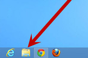 Screenshot of the Windows 8 Taskbar with an arrow pointing to the folder icon