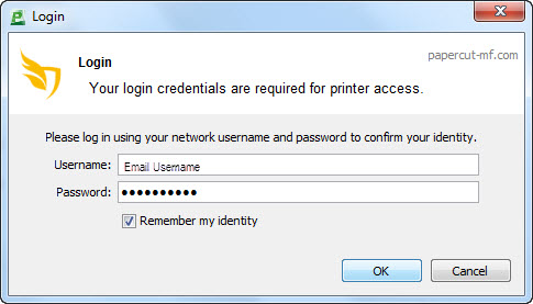 Screenshot of the login dialog box