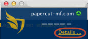 Screenshot of the Papercut Popup