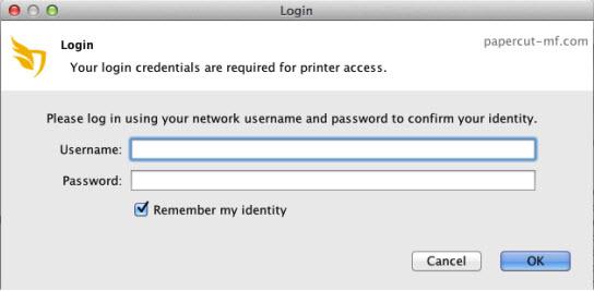 Screenshot of popup to log in via Active Directory