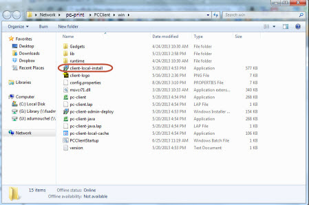 Screenshot of the client folder