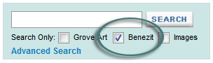 Image: screen shot detail of Bénézit option in Oxford Art Online