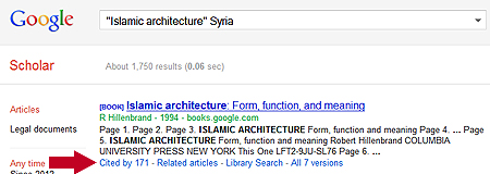 Image: screen shot of Google Scholar's cited reference searching tool