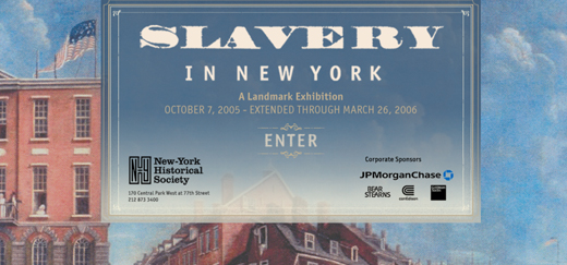 """Image: screen shot from online exhibition, """"Slavery in New York"""""""