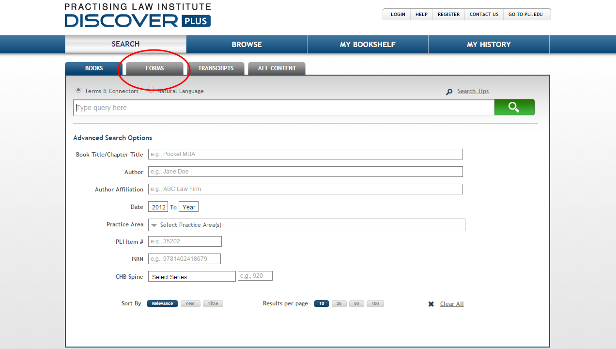 PLI Discover Plus Screenshot with Forms tab highlighted