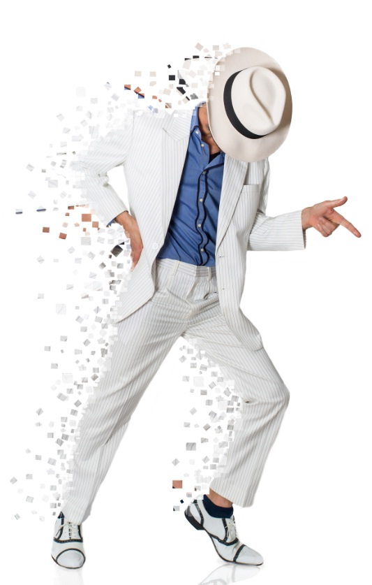 Man in a suit posing. Small pieces of the picture appear to be scattering off of him to one side.
