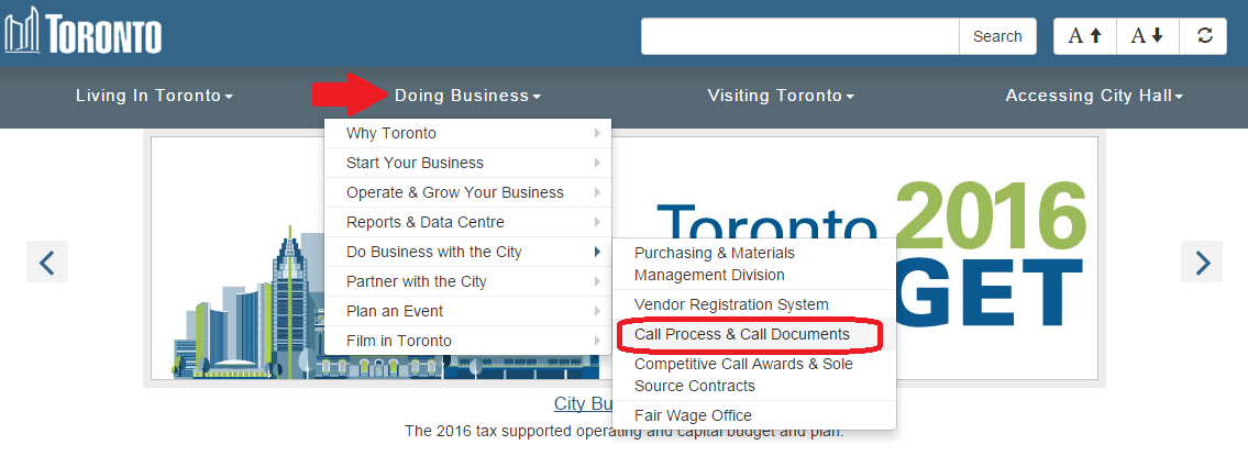 City of Toronto - Doing Business