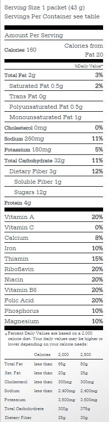 Quaker Oats Instant Oatmeal Packet Nutritional Facts